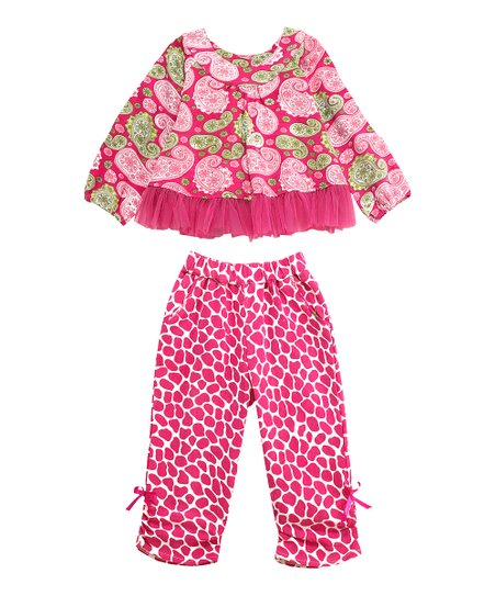 Pink Paisley Parfait Sufi Tunic & Giraffe Pants - Infant