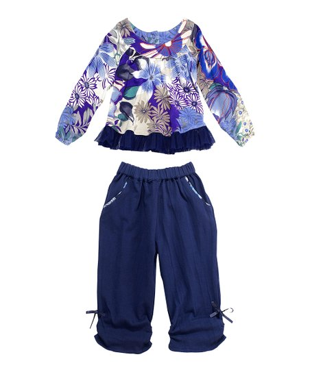 Navy Blue Floral Sufi Tunic & Pants - Infant