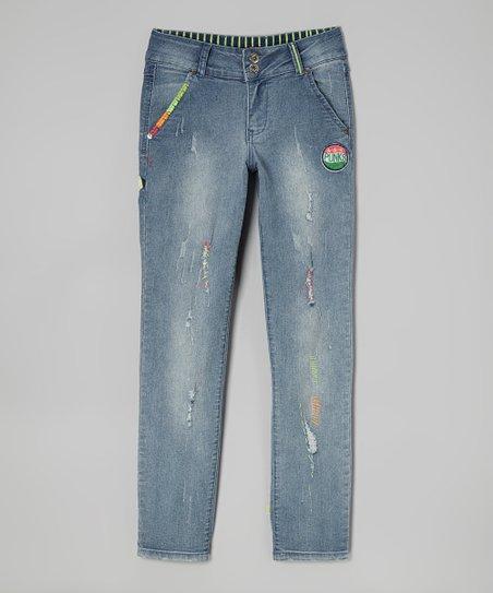 Blue Ocean Wash Distressed Skinny Jeans – Girls