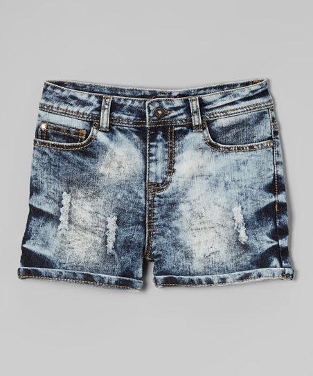 Blue Acid Wash Denim Shorts – Girls