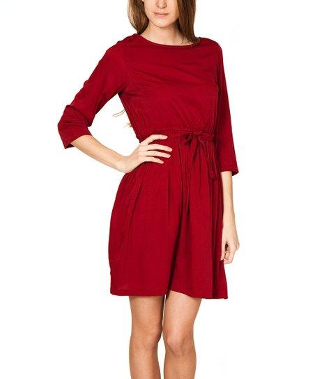 Burgundy Waist-Tie A-Line Dress