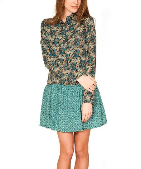 Green Drop-Waist Shirt Dress