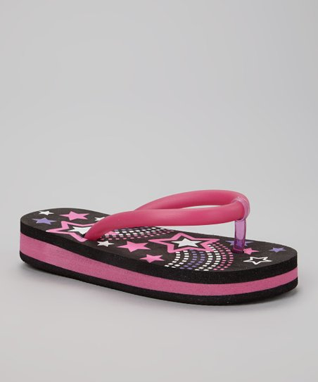 Black & Fuchsia Star Light-Up Flip-Flop