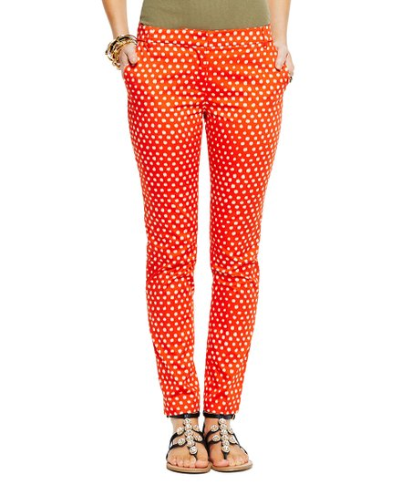 Lava & Sand Stretch Sateen African Dot Skinny Pants