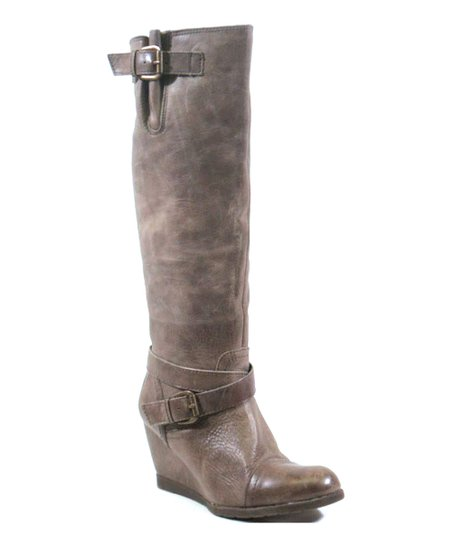 Gray Sabine Leather Wedge Boot - Women