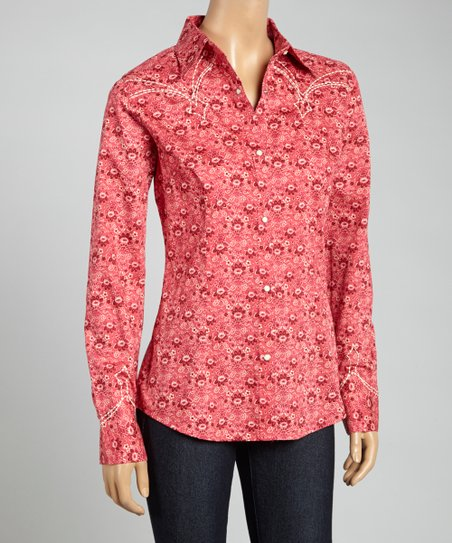 Red Embroidered Button-Up - Women