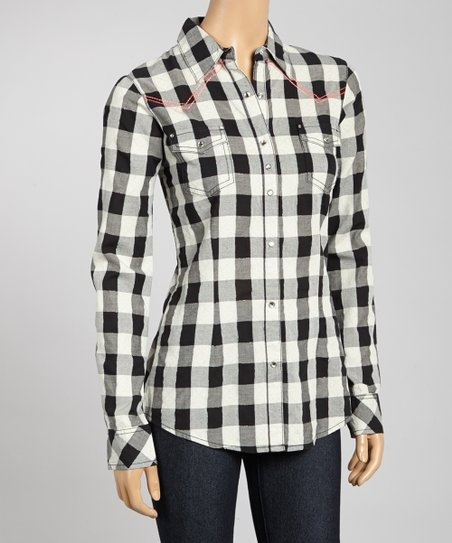 Black & White Plaid Embroidered Button-Up - Women & Plus