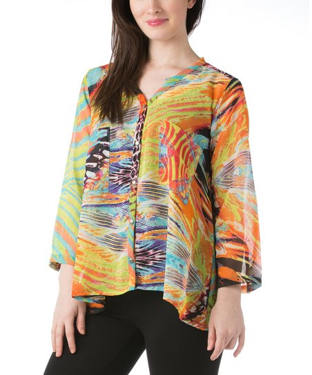 Orange & Yellow Abstract Button-Up Swing Top