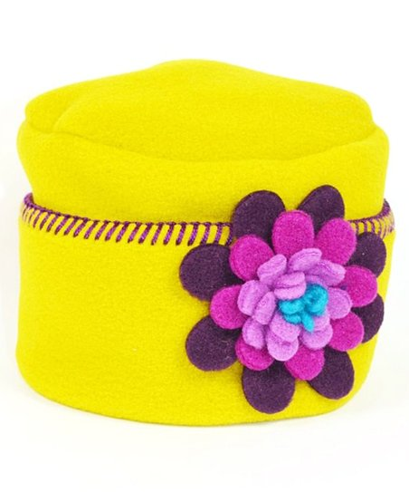 Yellow & Pink Flower Pillbox Hat
