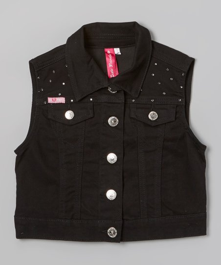 Black Rhinestone Denim Vest