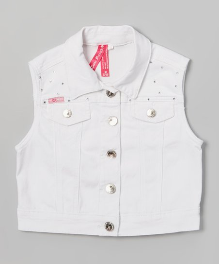 White Rhinestone Denim Vest