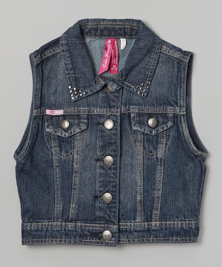 Dark Wash Studded Denim Vest