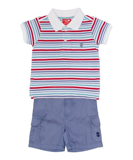 Blue & Red Stripe Polo & Shorts - Infant