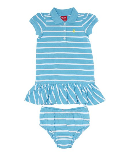 Blue & White Stripe Polo Dress - Infant & Toddler
