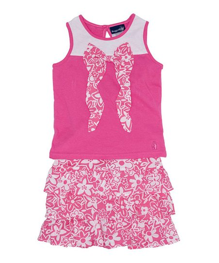 Pink & White Floral Bow Top & Skirt - Infant & Toddler