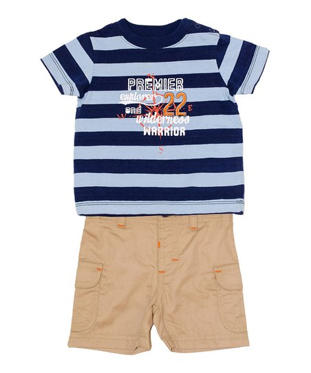 Navy & Powder Blue Stripe Tee & Khaki Shorts - Infant & Toddler