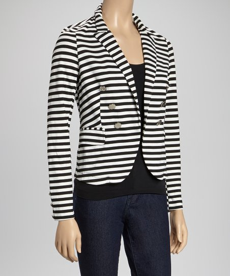 Black & White Stripe Knit Blazer