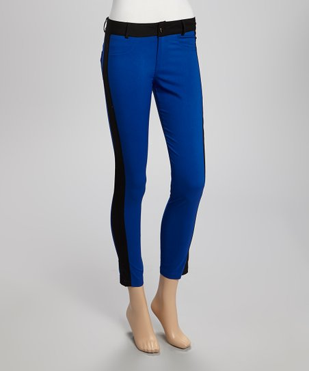 Blue & Black Color Black Cropped Pants