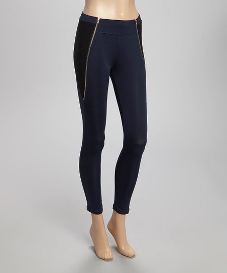 Navy Double Zipper Jeggings