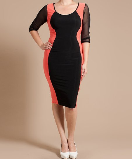 Coral & Black Color Block Scoop Neck Dress - Plus