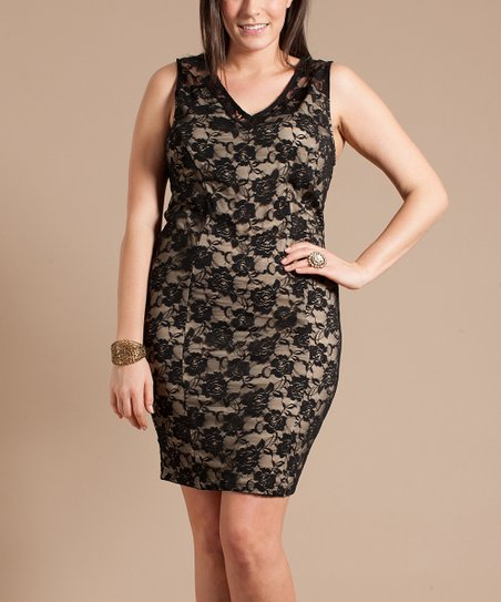 Black & Nude Floral Lace V-Neck Dress - Plus