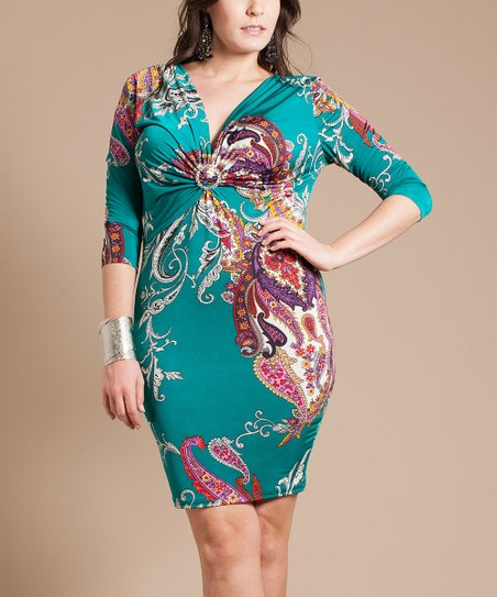 Jade & Purple Paisley Ruched V-Neck Dress - Plus