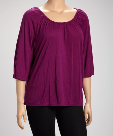 Plum Three-Quarter Sleeve Top - Plus
