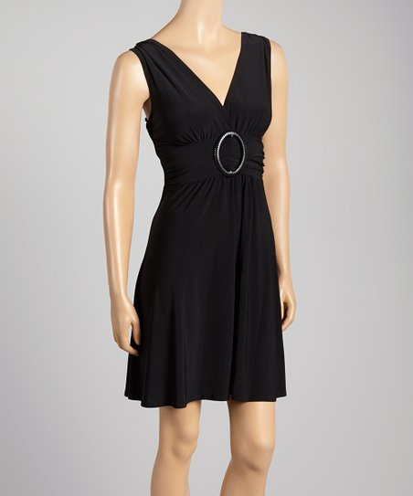 Black Sleeveless Surplice Dress