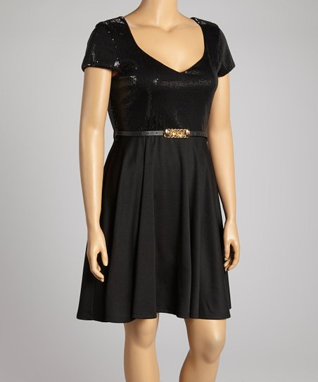 Black Sequin V-Neck Dress - Plus