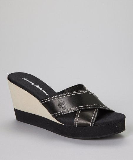 Black Kona Leather Wedge Slide - Women