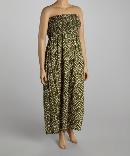 Olive Green Zigzag Strapless Maxi Dress - Plus