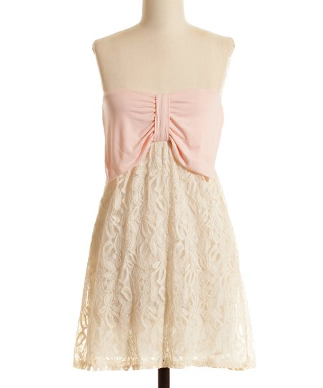 Peach & Ivory Lace Bow Embellished Strapless Dress