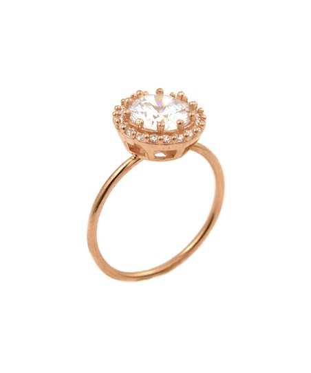 Rose Gold & Simulated Diamond Round Ring