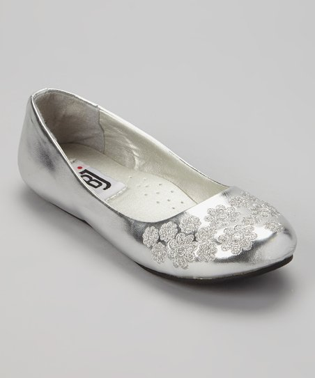 Silver Patent Embroidered Flower Flat