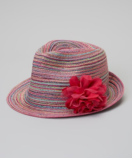 Pink Stripe Flower Fedora
