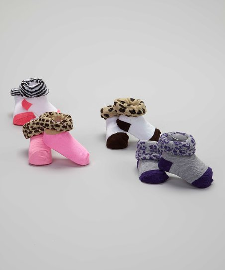 Pink & Purple Animal Print Boxed Bootie Set