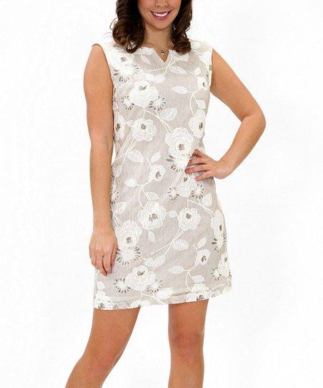 Cream Floral Sleeveless Dress