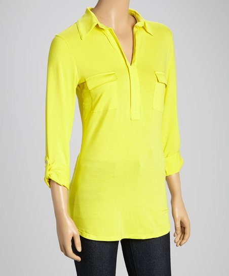 Yellow Pocket V-Neck Top - Women