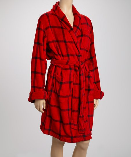 Red Plaid Robe - Women