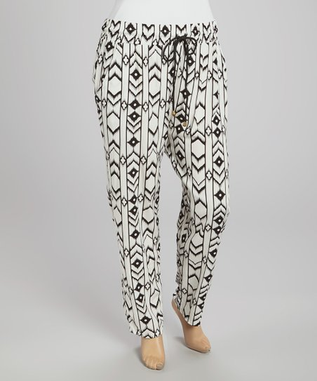 Black & White Diamond Harem Pants - Plus