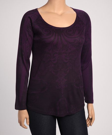 Plum Scroll Scoop Neck Top - Plus