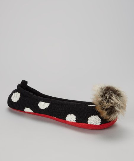 Black Polka Dot Knit Slippers