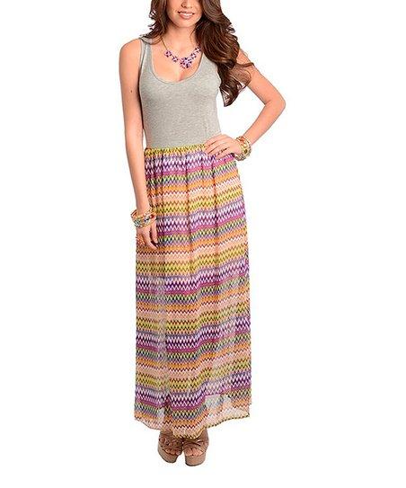 Gray & Fuchsia Zigzag Maxi Dress