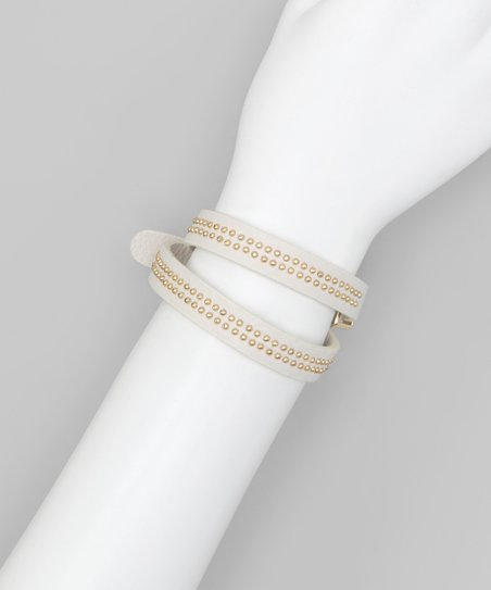 Cream Mini Stud Wrap Bracelet