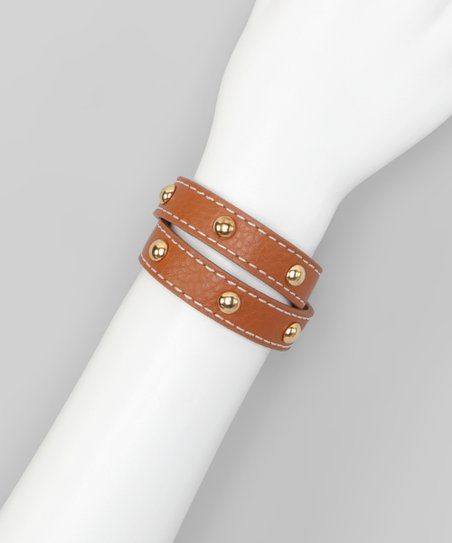 Camel Studded Leather Wrap Bracelet