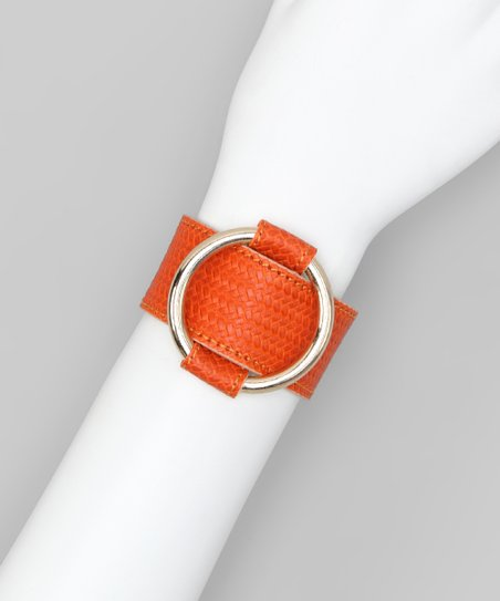 Orange & Silver Large Ring Leather Bracelet