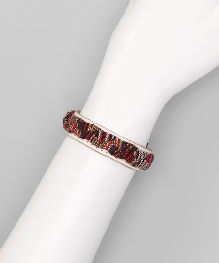 White &amp; Red Woven Tribal Leather Bracelet