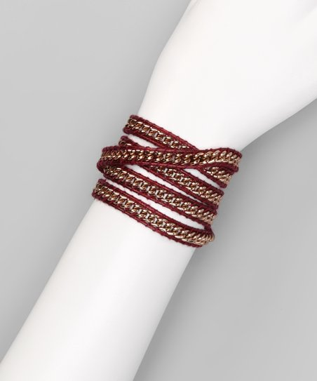 Burgundy Chain Wrap Bracelet