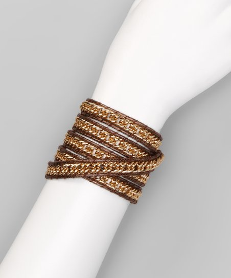 Brown Chain Wrap Bracelet