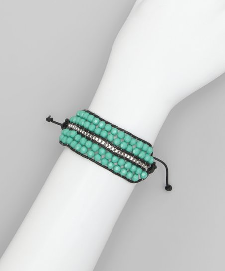 Blue Beads Leather Bracelet